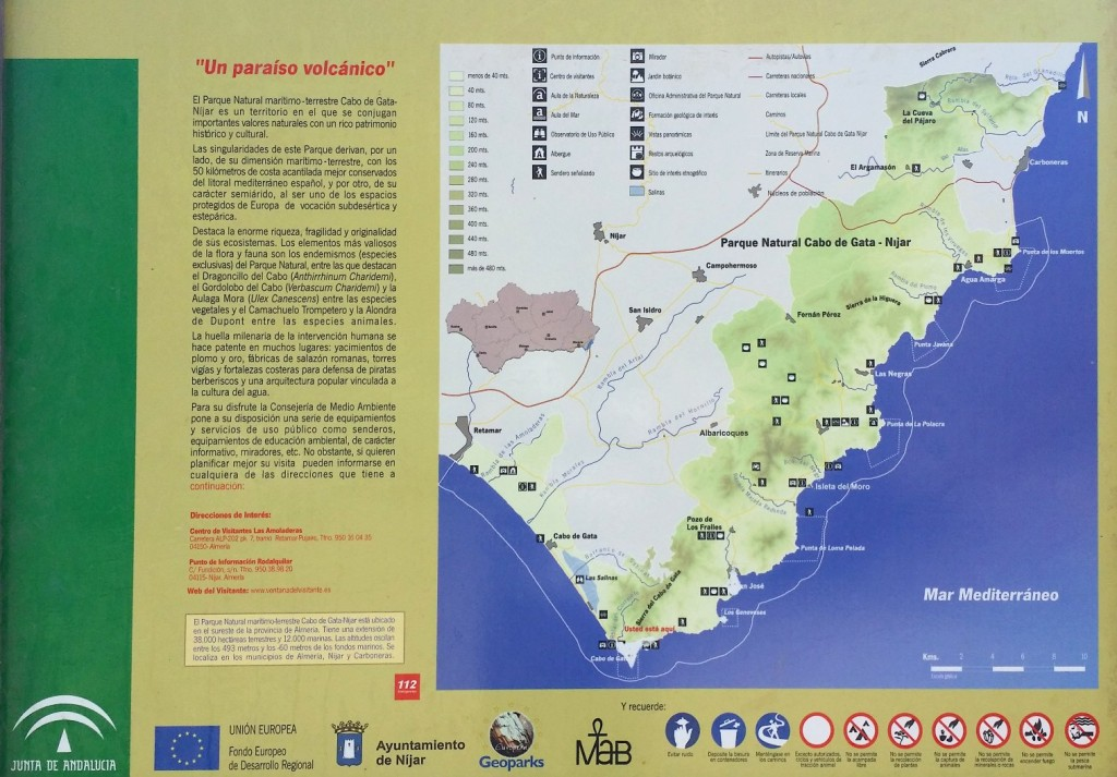 Mapa del Parque natural de Cabo de Gata