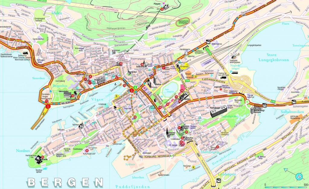 mapa del centro de Bergen