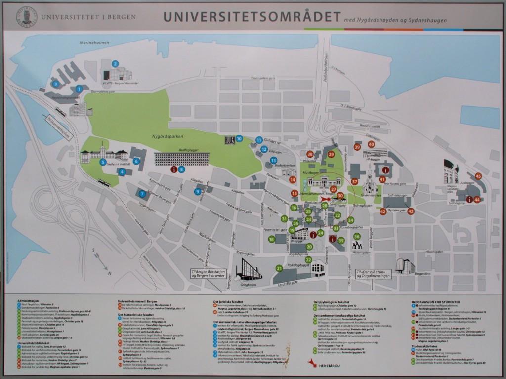 mapa del complejo universitario de Bergen