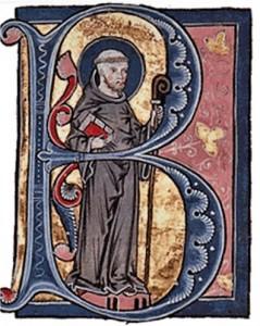 Bernardo de Claraval en un manuscrito iluminado del s. XIII