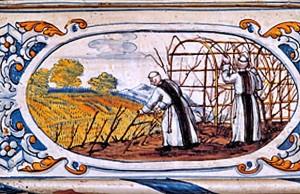 Azulejo dedicado a la vinicultura en la Abadía de Fontfroide