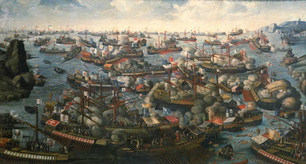 La flota de la orden contribuyó a la destrucción definitiva del poder naval otomano en la batalla de Lepanto en 1571, dirigido por Juan de Austria , hermanastro del rey Felipe II de España .