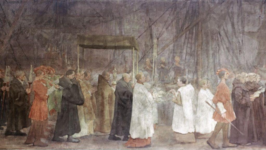 """Fragmento del cuadro """"la procesión"""""""