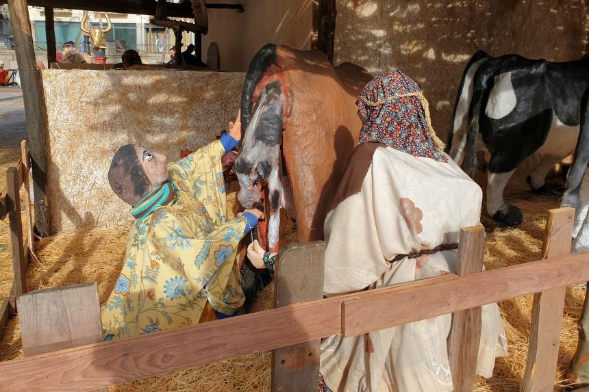 Pastor atendiendo a un parto en el belén monumental