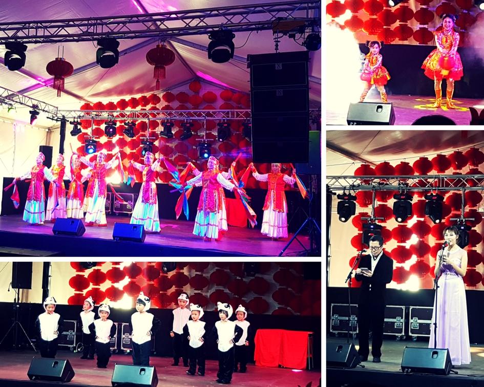 actuaciones en la carpa de la feria del año nuevo chino