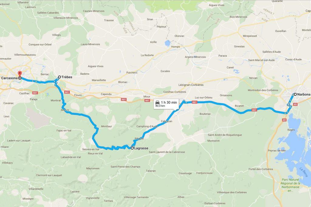 mapa de la ruta de Narbona a Carcasona