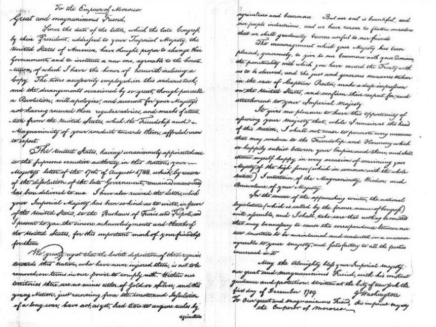 Carta de George Washington a Mohammed ben Abdallah