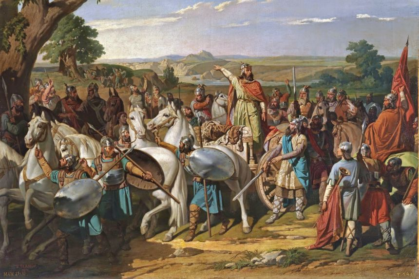 El rey Don Rodrigo arengando a sus tropas en la batalla de Guadalete (Museo del Prado)