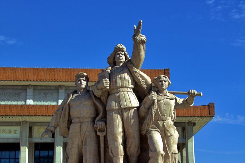 Estatua de trabajadores en Tiananmen