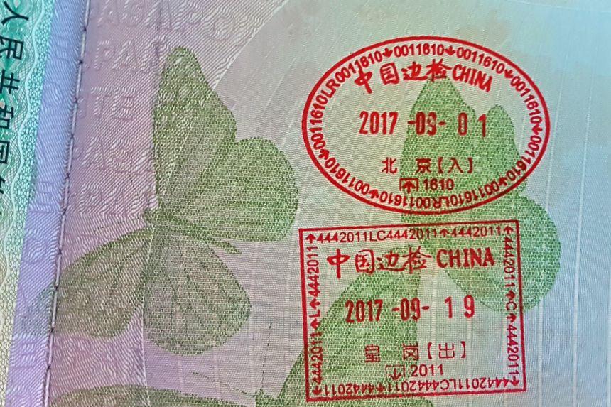 Sellos de entrada y salida en China