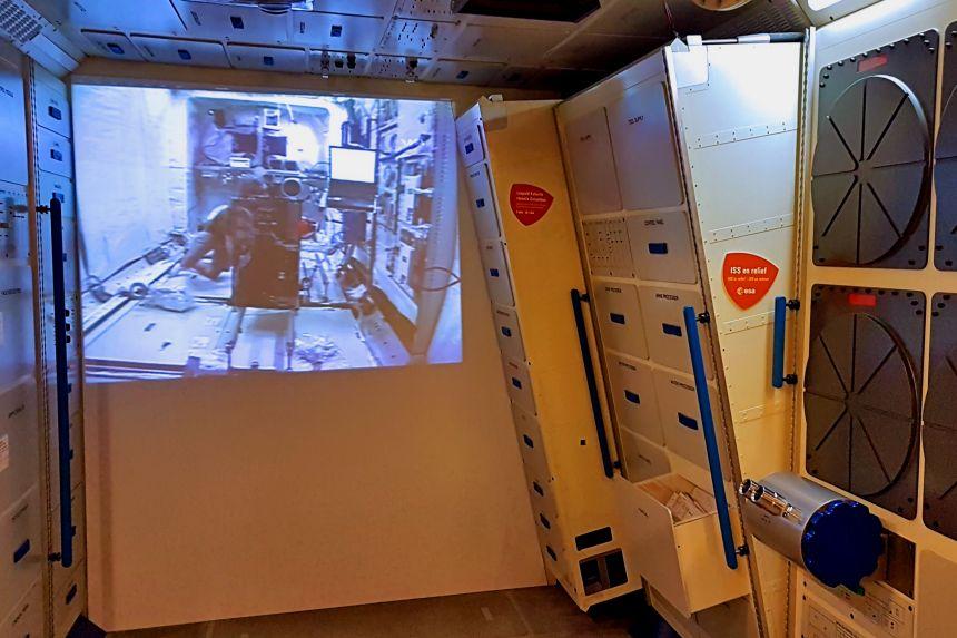 recreación del módulo Columbus de la Estación Espacial Internacional