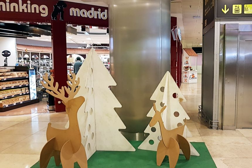 Aeropuerto Madrid Adolfo Suarez en Navidad