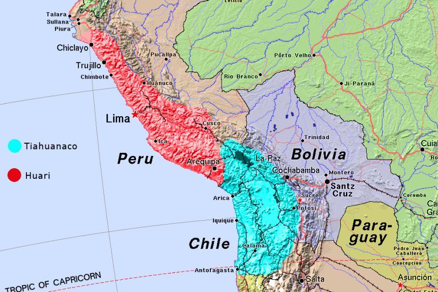 mapa de los imperios Tiahuanaco y Huari