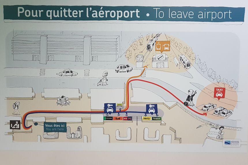 mapa para salir del aeropuerto de Toulouse