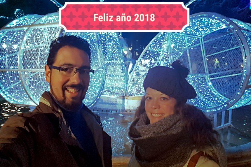 mapa y mochila 2017, feliz 2018 desde Toulouse