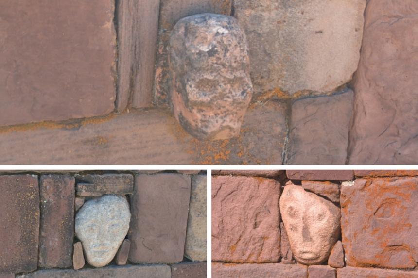 Rostros extraños en el Templo semi-subterráneo de Tiwanaku