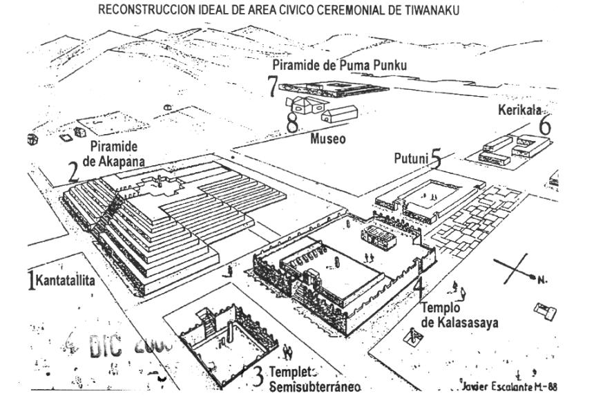 Reconstrucción de Tiwanaku por Javier Escalante