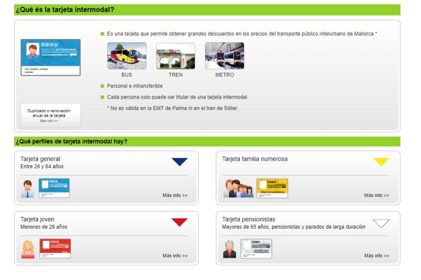 Tarjeta intermodal de transporte en Mallorca