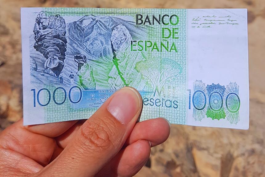 reverso de billete de mil pesetas