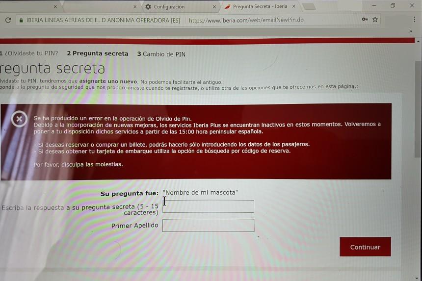 error en web de Iberia