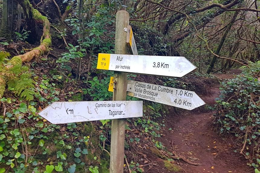 indicación de rutas en Anaga