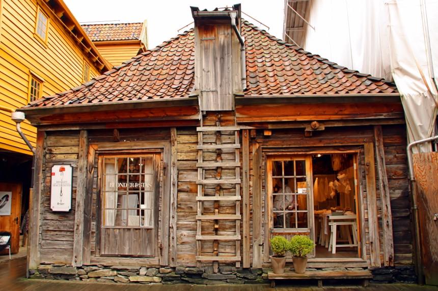 casas de las traseras de Bryggen