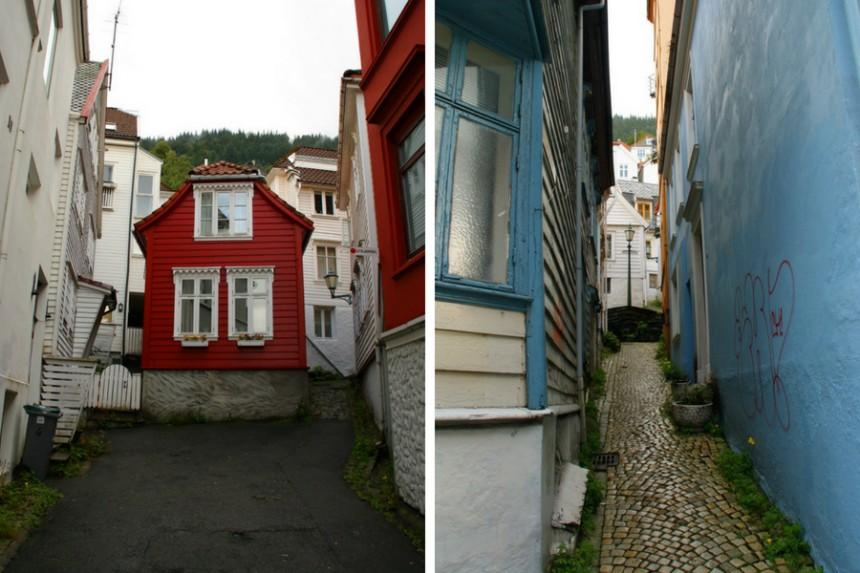 casas en la ladera del monte Fløyen en Bergen