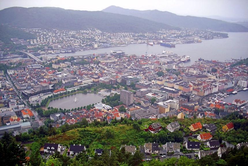 vistas desde el monte Fløyen en Bergen