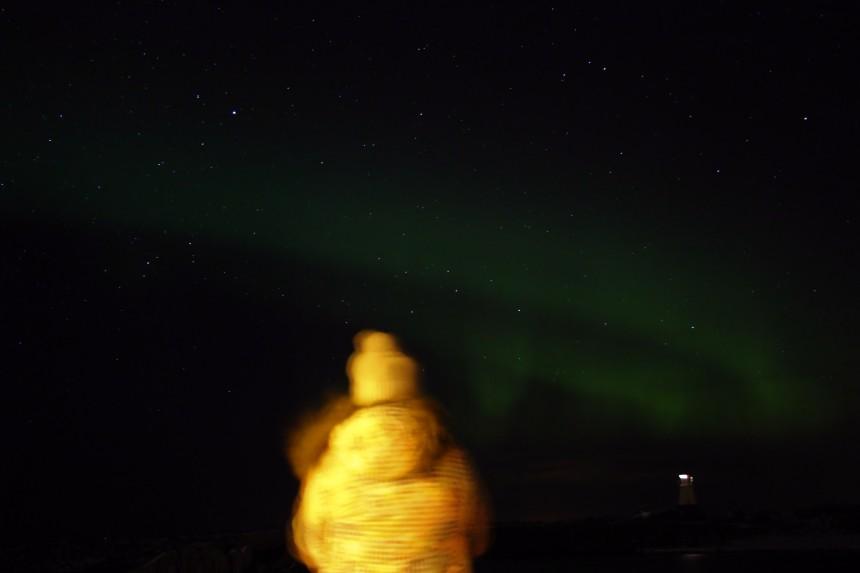 foto movida de una aurora boreal