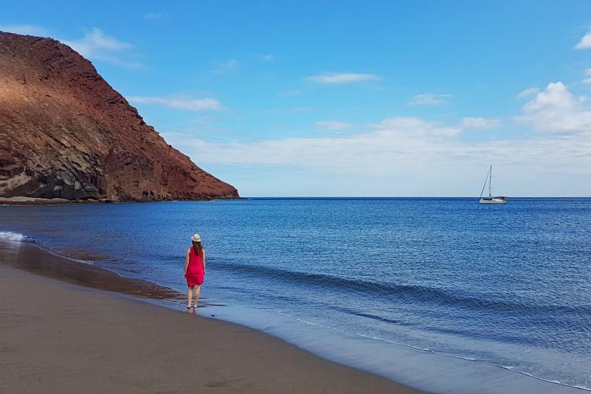 playa de la Montaña Roja en el sur de Tenerife