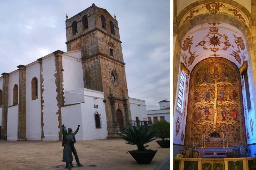 """Santa María del Castillo y retablo del """"Árbol de Jesé"""" en Olivenza"""