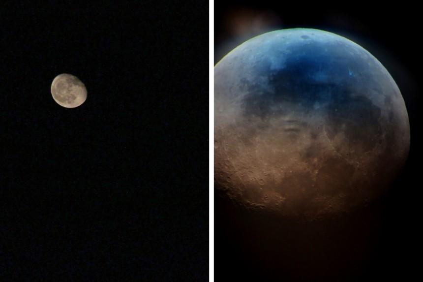 vista de la luna en el Observatorio Lago Alqueva