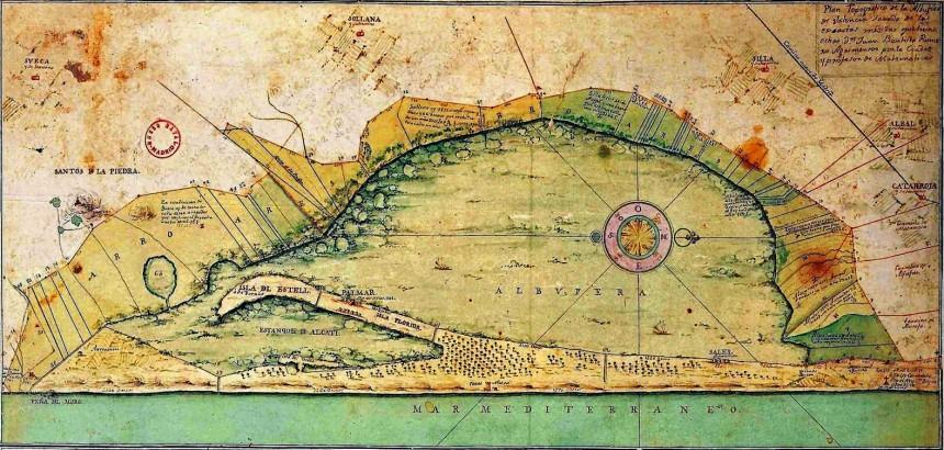 Plan Topográfico de la Albufera de Valencia de 1761