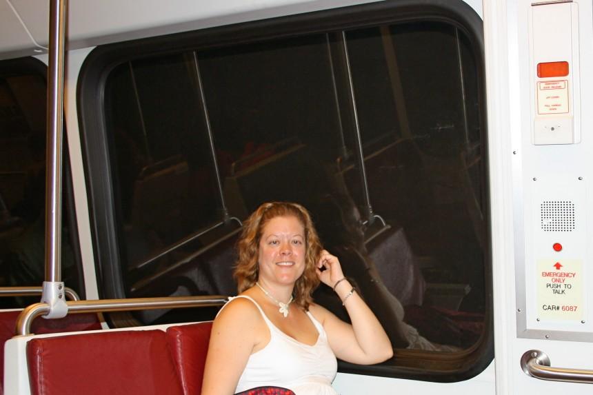 viajando en el Metrorail de Washington DC