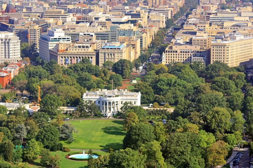 vista aérea de la Casa Blanca y Washington DC