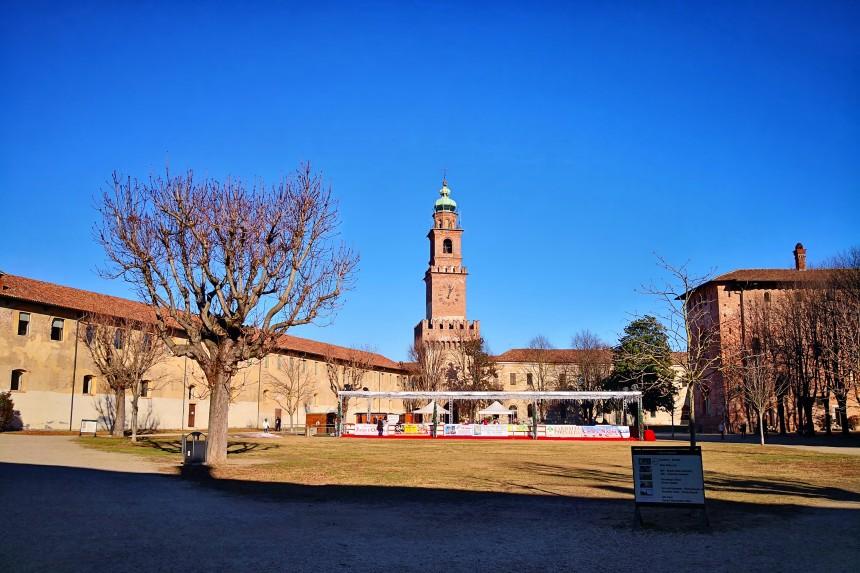 Patio del Castillo Sforzesco de Vigevano