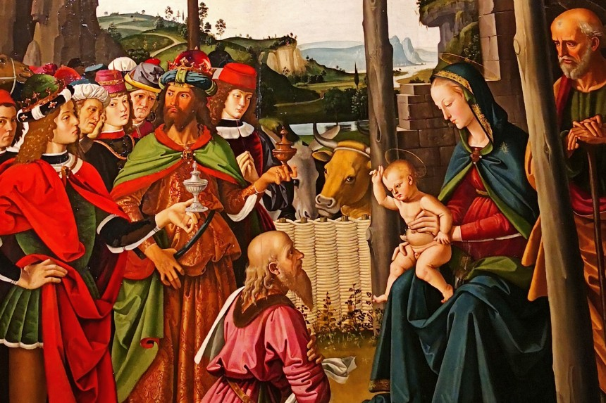 detalle de la Adoración de los Magos de Il Perugino