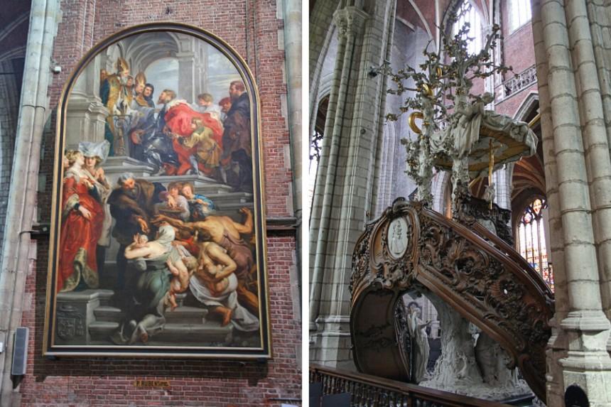 obras de arte del interior de la Catedral de San Bavon
