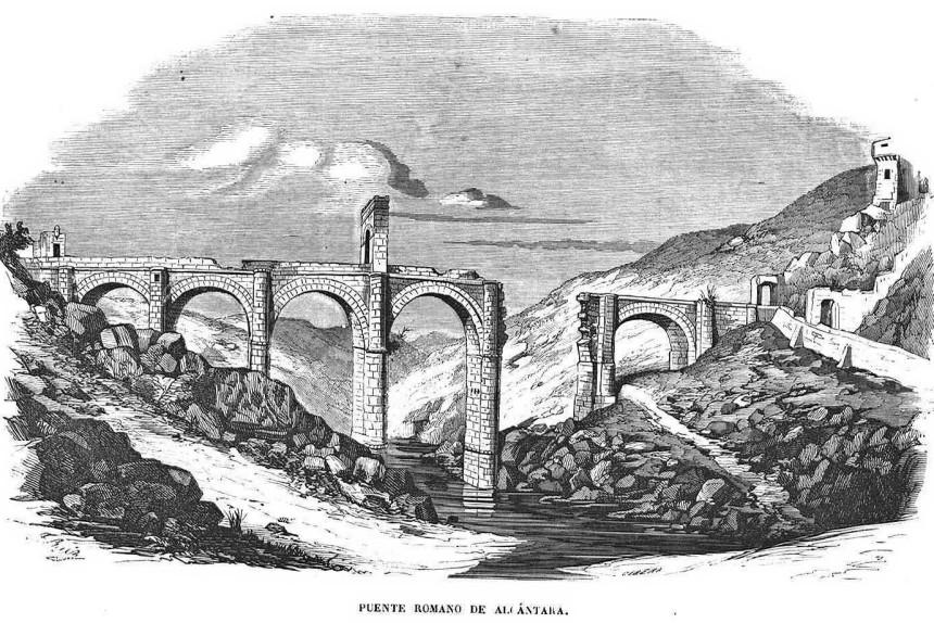 Grabado antiguo del Puente Romano de Alcántara