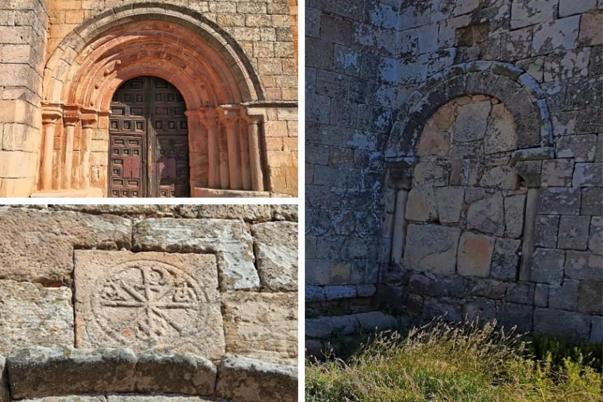 Portada románica y crismón oscense de la iglesia de Romanillos