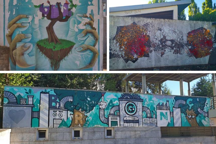 murales de arte urbano en Braganza en pequeño formato