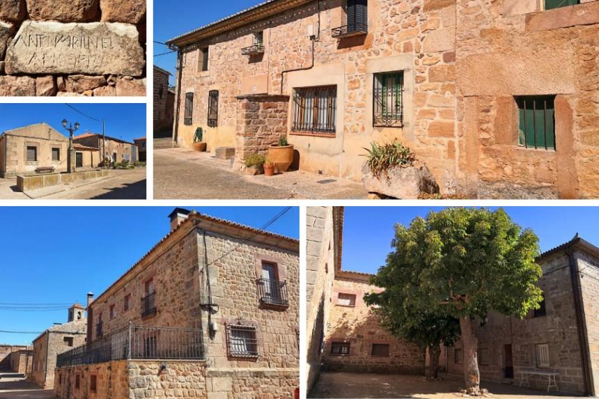 casa del cura, fuente y calles den Romanillos de Medinaceli