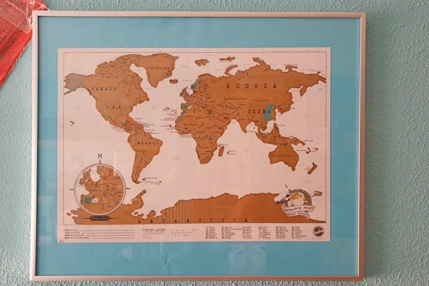 regalos para viajeros - mapamundi para rascar