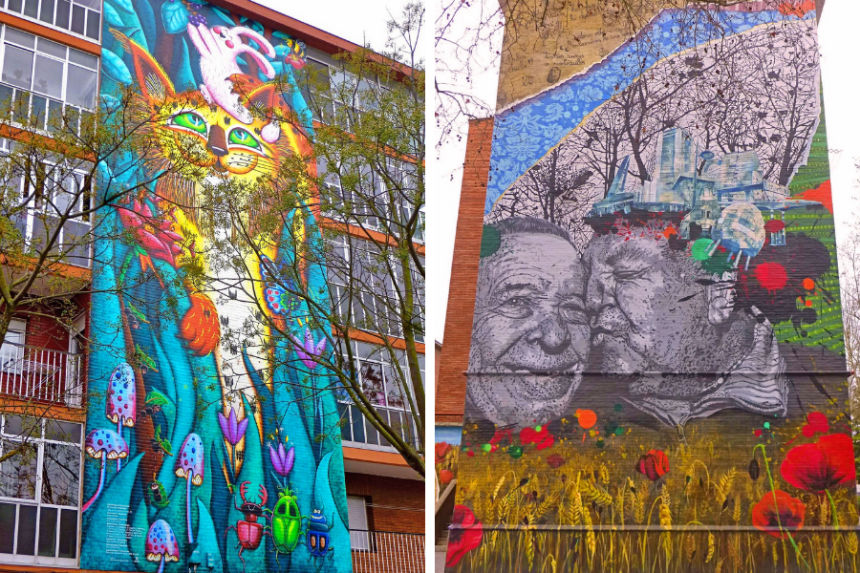 El Lince de Zaramaga Este mural de aspecto infantil está dedicado a la biodiversidad y a la interrelación entre las distintas especies. Una colorida obra que representa la belleza de la colaboración. En la Cresta de la Arruga