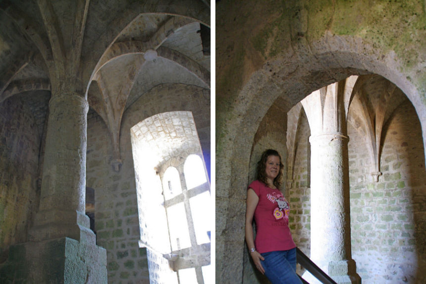 pilar de la sala gótica del donjon de Quéribus