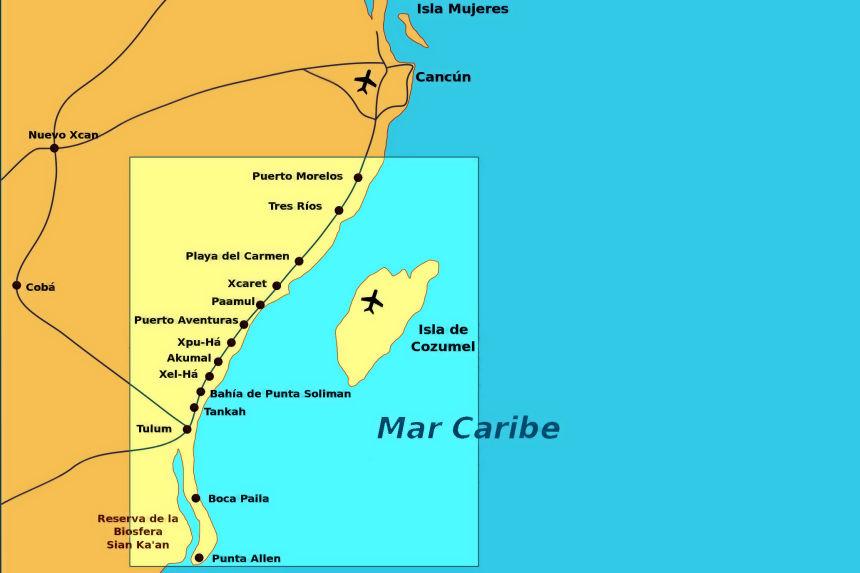 mapa de Riviera Maya