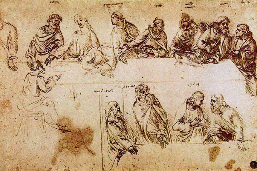 boceto de Leonardo Da Vinci para La Última Cena
